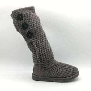 UGG Womens Classic Cardy Knit Boots Gray Size 5